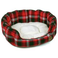 Petface Red Tartan Oval Dog Bed - Medium Best Price, Cheapest Prices