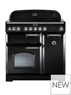 Rangemaster  CDL90ECBL Classic Deluxe 90cm Wide Electric Range Cooker - Black Best Price, Cheapest Prices