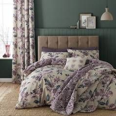 Catherine Lansfield Painted Floral Plum Bedding Set – Single Best Price, Cheapest Prices