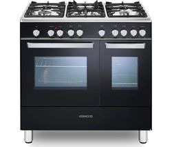 KENWOOD CK406 90 cm Dual Fuel Range Cooker - Black & Chrome Best Price, Cheapest Prices