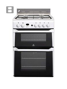 Indesit ID60G2W 60cm Double Oven Gas Cooker Best Price, Cheapest Prices