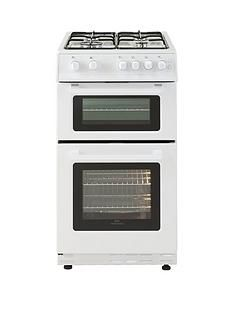 New World 50GTC 50cm Wide Twin Cavity Gas Oven Cooker - White Best Price, Cheapest Prices