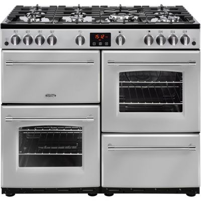 Belling Farmhouse100G 100cm Gas Range Cooker - Silver - A/A Rated Best Price, Cheapest Prices
