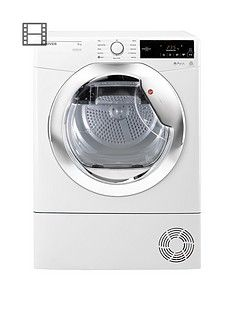 Hoover Dynamic NextDXC8TCE 8kgLoad, Aquavision Condenser Tumble Dryer with One Touch - White/Chrome Best Price, Cheapest Prices