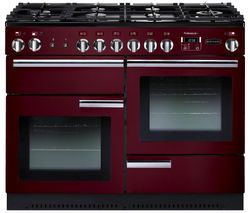 RANGEMASTER Professional+ 110 Dual Fuel Range Cooker - Cranberry & Chrome Best Price, Cheapest Prices