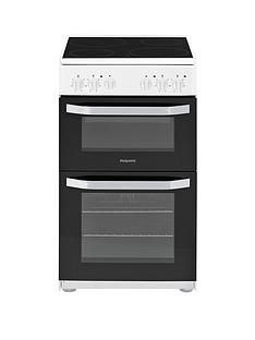 Hotpoint HD5V92KCW 50cmWide Electric Twin Cavity Single Oven Cooker - White Best Price, Cheapest Prices