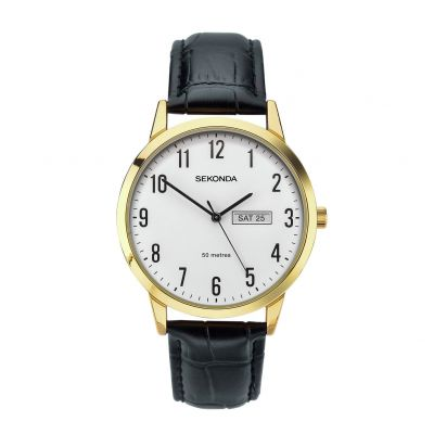 Sekonda Men's Easy Read Black Leather Strap Watch Best Price, Cheapest Prices
