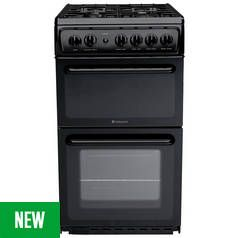 Hotpoint HD5G00KCB Twin Cavity Gas Cooker - Black Best Price, Cheapest Prices