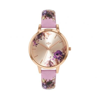 Spirit Ladies Floral Lilac Leather Effect Strap Watch Best Price, Cheapest Prices