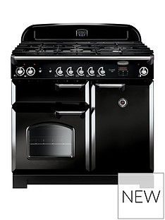 Rangemaster  CLA100DFFBL Classic 100cm Wide Dual Fuel Range Cooker - Black Best Price, Cheapest Prices