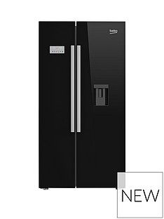 Beko Asd241B American-Style Fridge Freezer With Non-Plumbed Water Dispenser - Black Best Price, Cheapest Prices