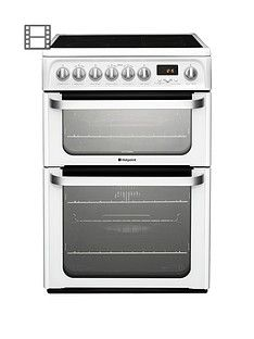 Hotpoint Ultima HUE62PS 60cm Wide, Double Oven Electric Cooker with Ceramic Hob - White Best Price, Cheapest Prices