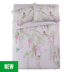 Argos Home Blue Tit Printed Bedding Set - Double Best Price, Cheapest Prices