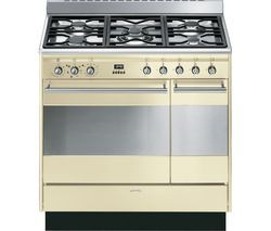SMEG Concert 90 cm Dual Fuel Range Cooker - Cream & Stainless Steel Best Price, Cheapest Prices