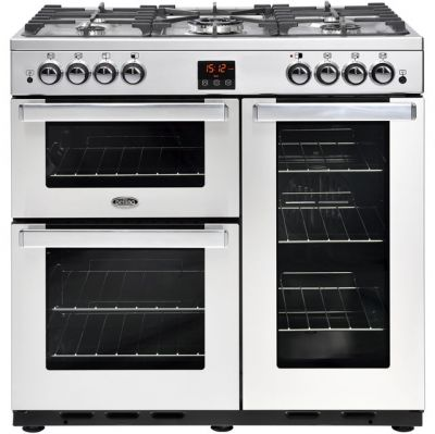 Belling Cookcentre90GProf 90cm Gas Range Cooker with Electric Fan Oven - Stainless Steel - A/A Rated Best Price, Cheapest Prices