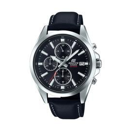 Casio Men's Edifice Chronograph Black Leather Strap Watch Best Price, Cheapest Prices