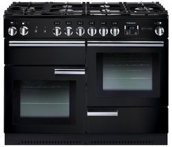 RANGEMASTER Professional+ 110 Gas Range Cooker - Black & Chrome Best Price, Cheapest Prices