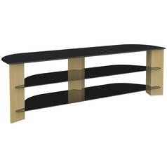 AVF Up to 75 Inch TV Stand - Black Glass and Oak Effect Best Price, Cheapest Prices