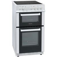 electriQ 50cm Twin Cavity Electric Cooker With Ceramic Hob - White Best Price, Cheapest Prices