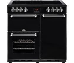BELLING Kensington 90E Electric Ceramic Range Cooker - Black & Chrome Best Price, Cheapest Prices