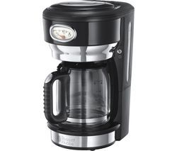 RUSSELL HOBBS Retro Glass Filter Coffee Machine - Black Best Price, Cheapest Prices