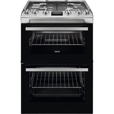 Zanussi ZCG63250XA 60cm Gas Cooker with Full Width Electric Grill - Stainless Steel - A Rated Best Price, Cheapest Prices