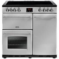 Belling Farmhouse 90E 90cm Electric Range Cooker in Silver 444444125 Best Price, Cheapest Prices