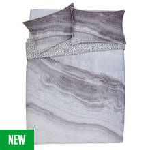 Argos Home Grey Marble Bedding Set - Double Best Price, Cheapest Prices