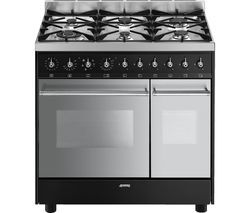 SMEG C92DBL8 Dual Fuel Range Cooker - Stainless Steel & Black Best Price, Cheapest Prices