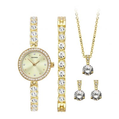 Sekonda Gold Watch, Bracelet, Necklace and Earrings Gift Set Best Price, Cheapest Prices