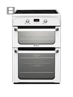 Hotpoint Ultima HUI612P 60cm Double Oven Electric Cooker with Induction Hob - White Best Price, Cheapest Prices