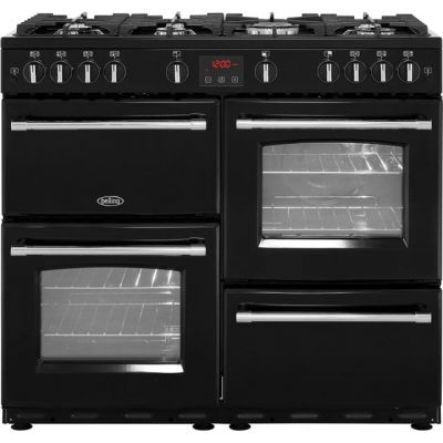 Belling Farmhouse100G 100cm Gas Range Cooker - Black - A/A Rated Best Price, Cheapest Prices