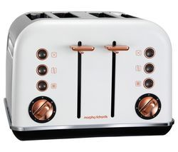 MORPHY RICHARDS Accents 242106 4-Slice Toaster - White & Rose Gold Best Price, Cheapest Prices