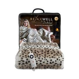 Relaxwell by Dreamland Leopard Print Faux Fur Heated Throw Best Price, Cheapest Prices