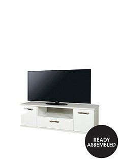 SWIFT Neptune Ready Assembled White High Gloss TV Unit - fits up to 65 inch TV Best Price, Cheapest Prices