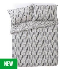 Argos Home Grey Triangle Tile Printed Bedding Set - Double Best Price, Cheapest Prices