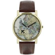 Spirit Men's Brown Faux Leather Strap World Map Watch Best Price, Cheapest Prices