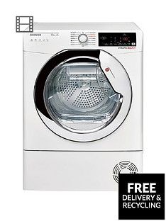 Hoover DXHY10A2TCE 10kg Load, Aquavision, Heat Pump Tumble Dryer with One Touch -  White/Chrome Best Price, Cheapest Prices