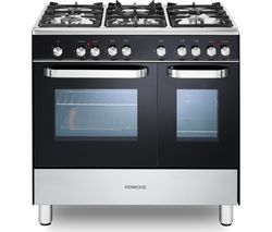 KENWOOD CK405-1 90 cm Dual Fuel Range Cooker – Black & Chrome Best Price, Cheapest Prices