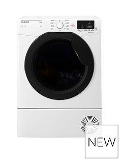Hoover Link HLC9DKE 9kg Load Aquavision Sensor Condenser Tumble Dryer with One Touch - White/Black Best Price, Cheapest Prices