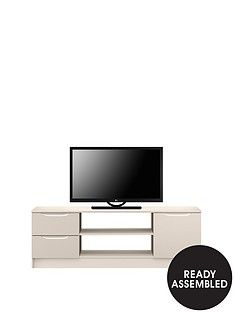 Ideal Home Bilbao Ready Assembled High Gloss Large TV Unit - Cashmere - fits up to 65 inch TV Best Price, Cheapest Prices