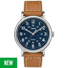 Timex Blue Dial Tan Leather Strap Watch
