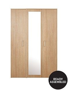 Barlow Part Assembled 3 Door Mirrored Wardrobe Best Price, Cheapest Prices