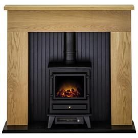 Adam Innsbruck Surround with Hudson 2kW Electric Suite - Oak Best Price, Cheapest Prices