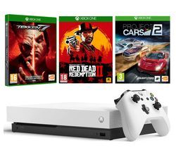 MICROSOFT White Xbox One X, Red Dead Redemption 2, Tekken 7 & Project Cars 2 Bundle Best Price, Cheapest Prices
