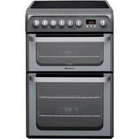 Hotpoint HUE61GS 60cm Double Oven Electric Cooker With Ceramic Hob - Graphite Best Price, Cheapest Prices
