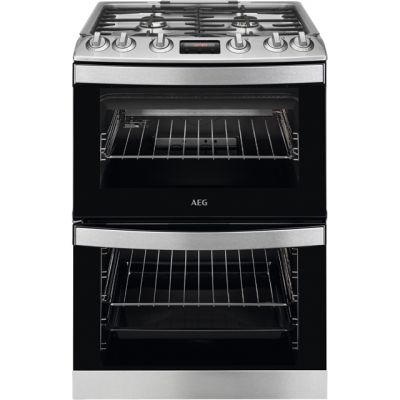 AEG CGB6133CCM 60cm Gas Cooker with Full Width Electric Grill - Stainless Steel - A/A Rated Best Price, Cheapest Prices