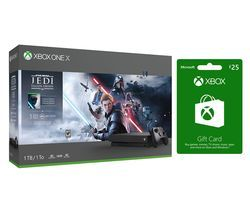 MICROSOFT Xbox One X, Star Wars Jedi: Fallen Order Deluxe Edition & Xbox Live £25 Gift Card Bundle Best Price, Cheapest Prices