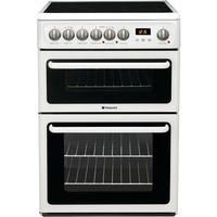Hotpoint HAE60PS 60cm Double Oven Electric Cooker with Ceramic Hob - Polar White Best Price, Cheapest Prices