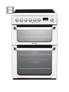 Hotpoint Ultima HUE61PS 60cm Double Oven Electric Cooker with Ceramic Hob - White Best Price, Cheapest Prices